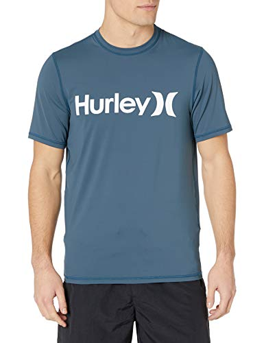 Hurley Men's One and Only Rashguard de protection solaire à manches courtes - bleu - Large