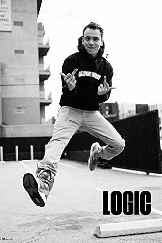 Logic Merch Middle Fingers Jump Photo Rap Posters Logic Rapper Merch Logic Merchandise Everybody Young Sinatra No Pressure YSIV Logic Glasses Bobby Tarantino Cool Wall Decor Art Print Poster 8x12