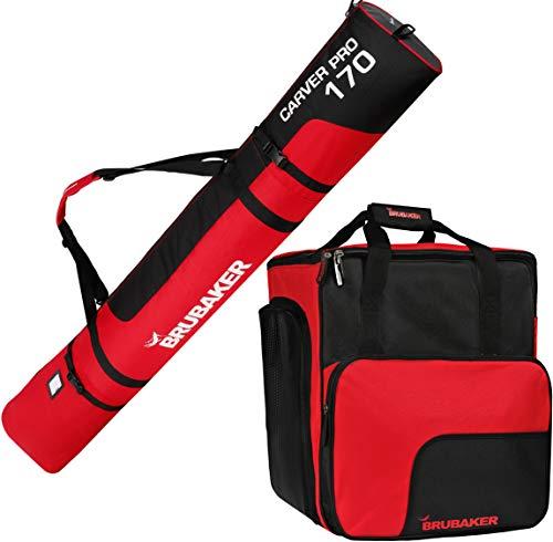 Brubaker Kombi Set Skisack und Skischuhtasche für 1 Paar Ski bis 170 cm + Stöcke + Schuhe + Helm Schwarz Rot