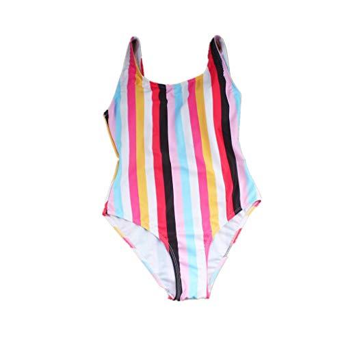 Sinwasd Damen Einteiler Regenbogen-Bademode Skimpy Bikini Set Push-Up Gepolsterter Badeanzug Retro Slim Fit Beachwear Weltbuch-Tag Outfit Gr. S, rot