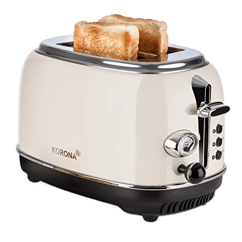 Korona 21666 Tostador | 2 rebanadas | crema | indicador de nivel de tostado | descongelar | tostar | recalentar | 810 vatios | accesorio para panecillos | bandeja recogemigas