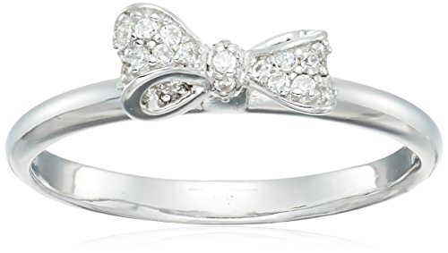 Sterling Silver Cubic Zirconia Pave Bow Ring, Size 7