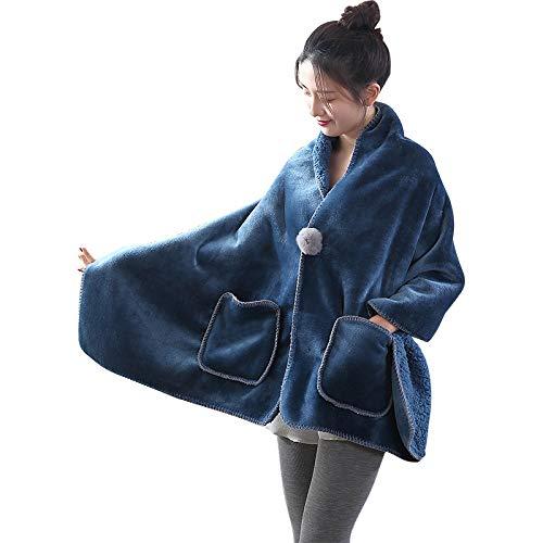 【最新版】着る毛布ポンチョ毛布着るブランケットルームウェア肩掛け静電気防止厚手あったかもこもこランケット洗濯可能冷房防寒対策ブランケットひざ掛けレディース170x65cm(エメラルドグリーン)