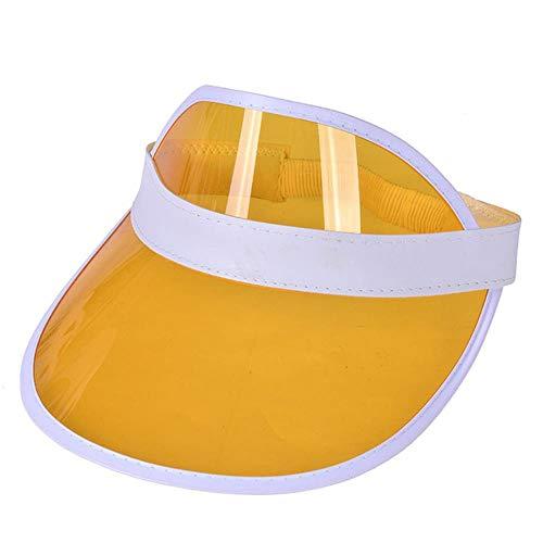 Estate Donna Uomo Cappello da Sole Colore Caramella Trasparente Vuoto Top Plastica PVC Solare Cappello Visiera Cappelli Bicicletta Parasole Cappello, Giallo