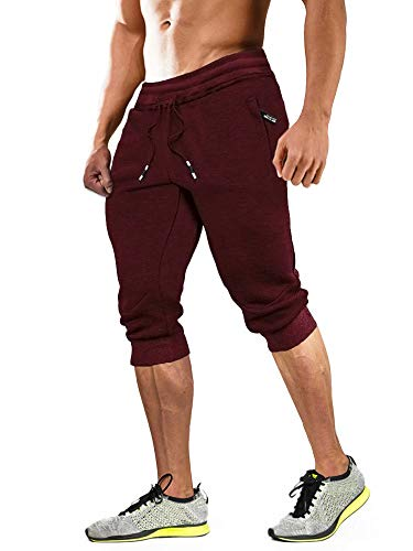 MAGCOMSEN Joggers for Men with Pockets Below Knee Shorts Capri Joggers 3/4 Joggers Workout Shorts Men Running Shorts Gym Shorts Sweatpants for Men Red