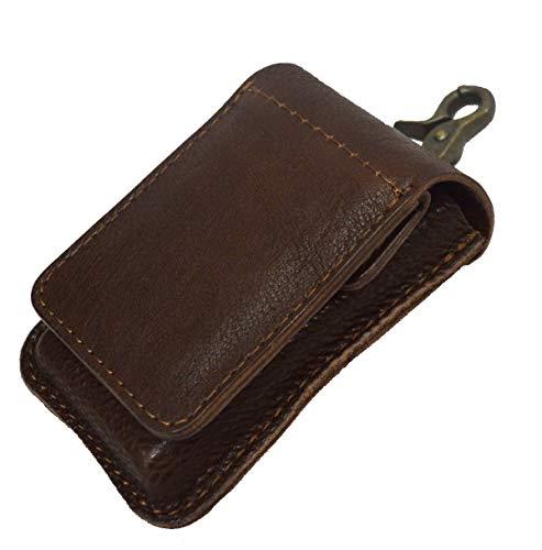 タバコケース 牛革 レザー シガレットケース 携帯灰皿付き チョコ
