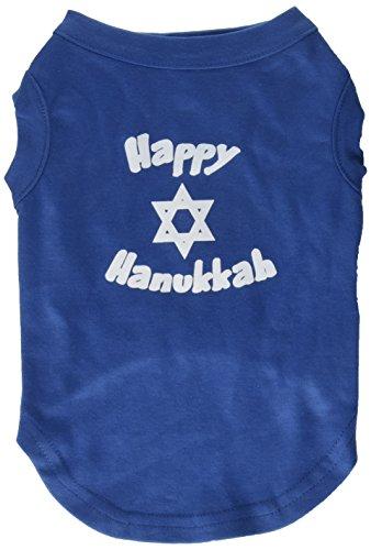 Mirage Pet Products 12-Inch Happy Hanukkah Screen Print Shirts for Pets, Medium, Blue