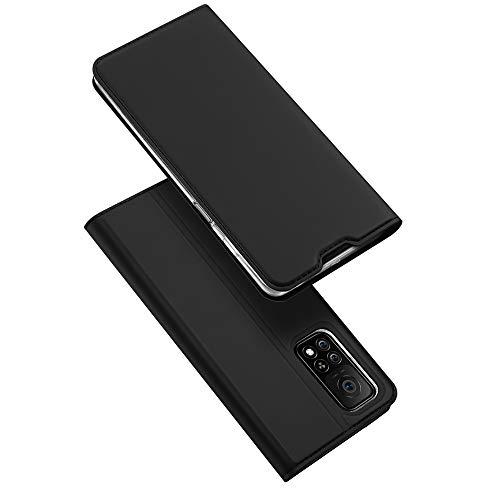 DUX DUCIS Hülle kompatibel mit Xiaomi Mi 10T 5G / Xiaomi Mi 10T Pro 5G, Leder Flip Handyhülle Schutzhülle Tasche Case mit [Kartenfach] [Standfunktion] [Magnetverschluss] (Schwarz)