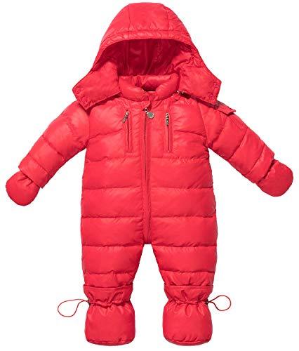ZOEREA Bebé Trajes de Nieve con Guantes y Botines Niñas Recién Nacido Mameluco Mono con Capucha Invierno Conjunto de Ropa de 0-18 Meses