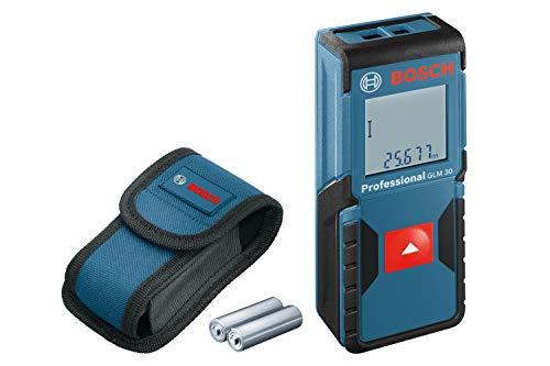 Bosch Professional 601072570 Laser Measure GLM 30 (Single-Button Use, Imperial System, Measuring Range: 0.49 - 98 ft, 2 x 1.5 V Batteries, Protective Bag), Blue, 20.0 mm*100.0 mm*40.0 mm