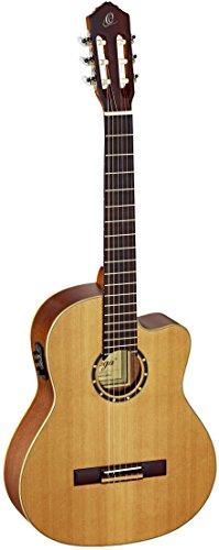 Ortega Guitars RCE131 Konzertgitarre in 4/4 Größe Cutaway elektrifiziert natur massive Decke im seidenmatten Finish mit hochwertigem Gigbag und Gurt