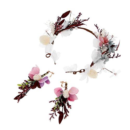 Minkissy Bloemen hoofdband oorbellen set vrouwen bloemen hoofdband krans kroon bloemen bruiloft slinger huwelijksfeest foto rekwisieten