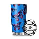 Bannanabut Vaso de viaje con aislamiento al vacío de doble pared, diseño de mariposas, con tapa, 20 onzas, vaso de acero...