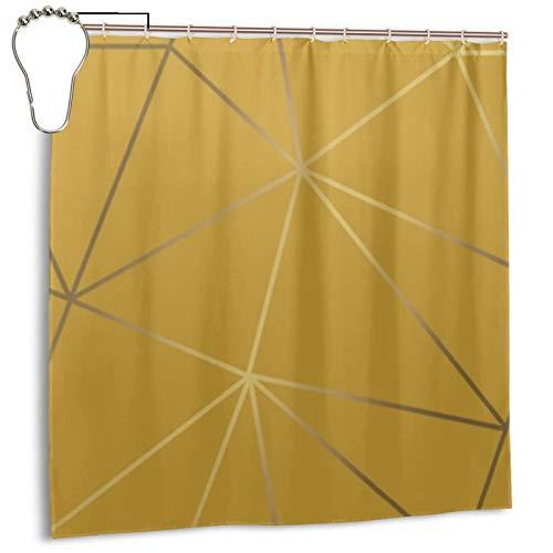 Zara Duschvorhang, schimmernd, metallisch, geometrisch, senffarben, goldfarben, Duschvorhang für Badezimmer, wasserdicht, Polyester mit Metallhaken, 183 x 183 cm
