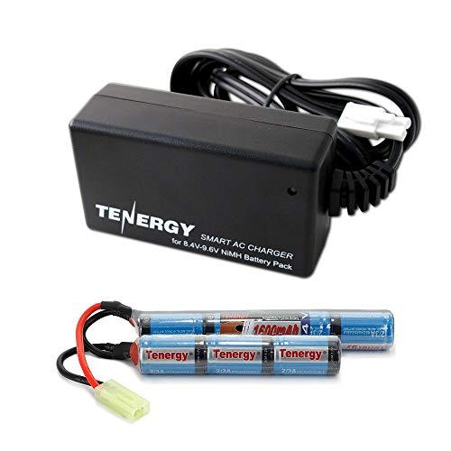 Tenergy 8.4V Airsoft Battery 1600mAh NiMH Nunchuck Battery w/ Mini Tamiya Connector for Airsoft Gun M4 Rifle + 8.4V-9.6V NiMH Battery Charger w/ Mini Tamiya Connector and Standard Tamiya Adaptor