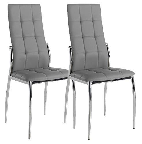 Miroytengo Lote 2 sillas Comedor Laci Salon Polipiel Color Gris Estilo Moderno Cromado 101x51x45