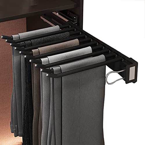 FKDEKUZI Wardrobe Pants Hanger Rail with 10 Arm,Stretchable Trouser Hanger,Wardrobe Organizer Storage Rack (Color : Right side)