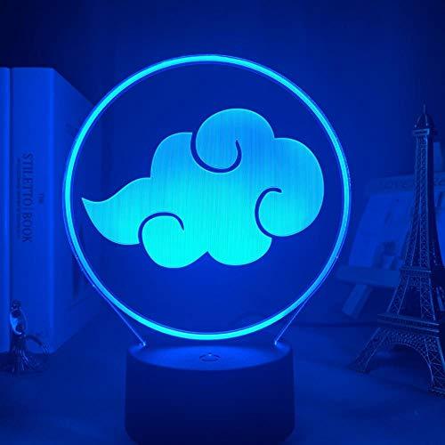 3D Night Lights for Girls Boys Anime Anime Naruto Akatsuki Logo Tisch 3d Lampe für Kinder Dekor Nachtlicht Manga Geschenk für ihn Acryl LED Nachtlicht Lampe