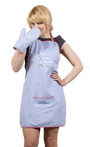 Juego de delantal con guante de horno de cocción/parrilla luz Blue Print 'El Pequeño hogar' por etiqueta alemana Ringelsuse