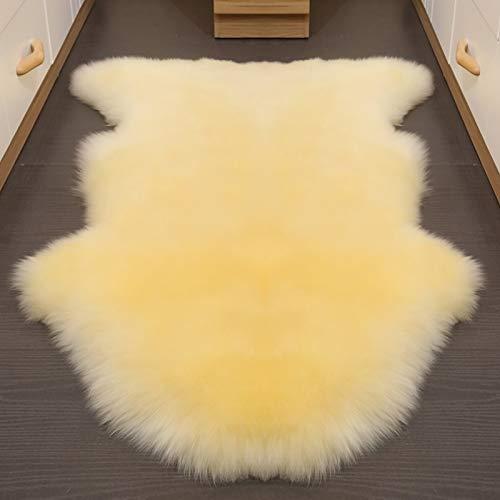Altlue Tapis Peau Mouton Veritable Tapis Fourrure Naturel Peau De Bete Coussin Mouton Fourrure (75x110cm) (Color : Beige)