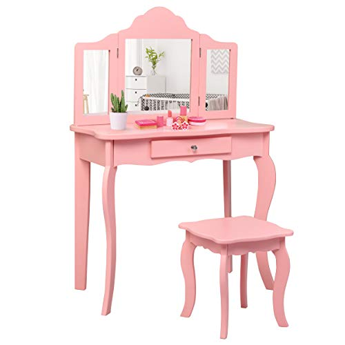 Costzon Kids Wooden Vanity Table & Stool Set, 2 in 1 Detachable Design with Dressing Dable and Writing Desk, Princess Makeup Dressing Table with Two 180° Folding Mirror, for Girls, Kids (Pink)
