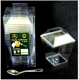 SARVAH - Clear Plastic Mousse Dessert Cups w/Spoons   Disposable Plastic Cup   Portion Cups for Jelly Yogurt Mousses Desse...
