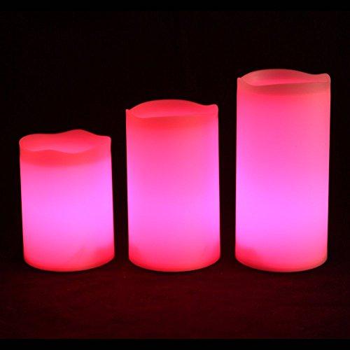 Frostfire Mooncandles – Tre candele in resina impermeabili per interni ed esterni con timer e telecomando e cambia colore, Dimensioni: 10 cm/12 cm/14 cm