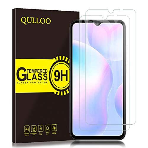 QULLOO Panzerglas für Xiaomi Poco C3 / Redmi 9A / Redmi 9C, 9H Hartglas Schutzfolie HD Displayschutzfolie Anti-Kratzen Panzerglasfolie Handy Glas Folie für Xiaomi Poco C3 / Redmi 9A / Redmi 9C