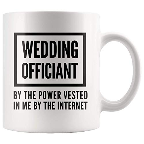 N\A Taza de oficiante Oficiante de Boda por el Poder adquirido en mí por el Pastor de Internet Taza de café Divertida - Regalos del Ministro oficiante de Matrimonio
