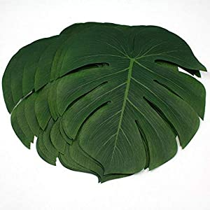 LOKIPA 30 Pcs 8 Inch Artificial Tropical Palm Leaves Monstera Plant Leaves for Hawaiian Luau Party Decor Safari Jungle Beach Theme Birthday Party Decorations