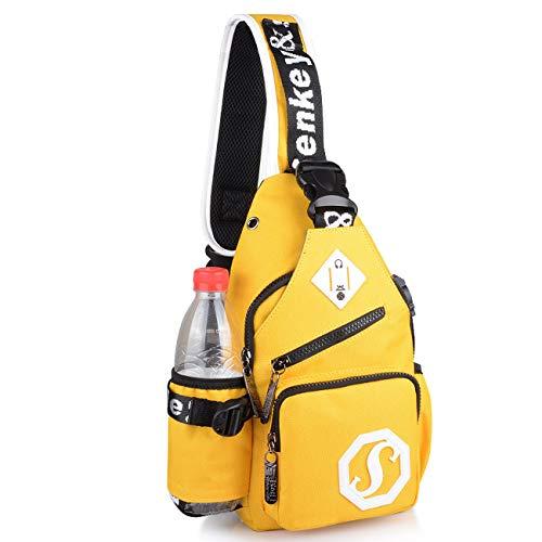 Asge Brusttasche Herren mit USB Sling Rucksack Crossbody Schultertasche Schulterrucksack Umhängetasche Crossbody Bag für Reise Arbeit Sport Daypack (Gelb)