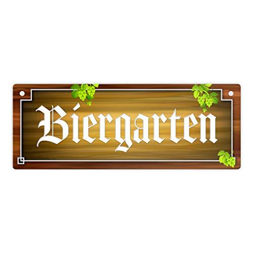 trendaffe - Biergarten Metallschild in Holz-Optik und Hopfen Motiv Bier Weizen Pils Kristall