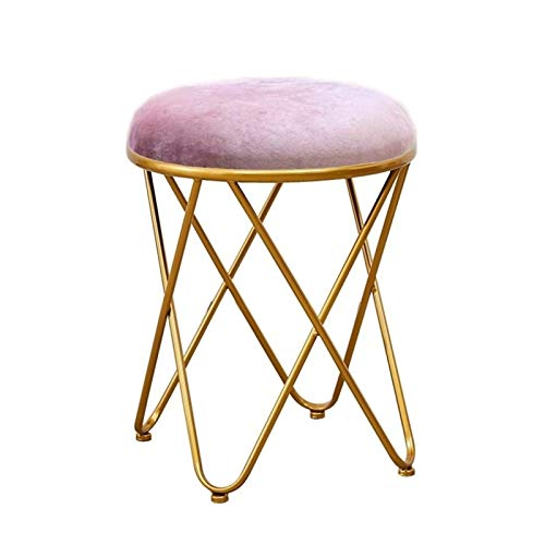 WLDZSW Metal Load-Bearing Makeup Chair Dressing Table Cushion Stool Widened Stool Surface Bedroom Home Modern Minimalist (Color : Lavender)