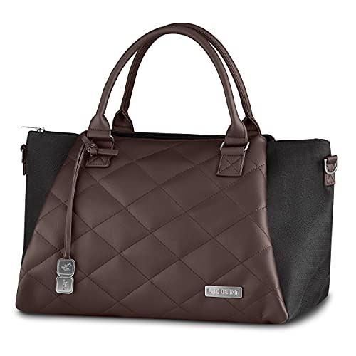 ABC Design Wickeltasche Royal Diamond Edition – Handtasche mit Baby Zubehör – auch zum Umhängen – Melange Stoff & Lederimitat – Farbe: dolphin