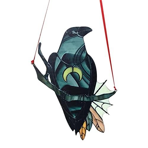 Ravcerol Adorno de la Ventana de vidrieras de la Bruja de Cuervo, Exquisito diseño de Arte de Arte Colgante, pájaro Negro con Collar de Luna Memorial Dedicrafts Regalos para el hogar, Amigos