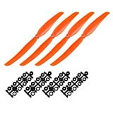 uxcell RC Propellers CW 1060 10x6 Inch 2-Vane Fixed-Wing for Airplane Toy, Nylon Orange 4pcs with Adapter Rings