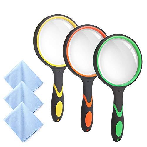 3er Lupe 10X Handleselupe Vergrösserungsglas für Senioren Kinder, Creatiees 75 MM 3 Zoll Echtglas-Lupe für das Lesen von Buchzeitungen, Insekten- und Hobbybeobachtung, mit ein 3er Linsentuch