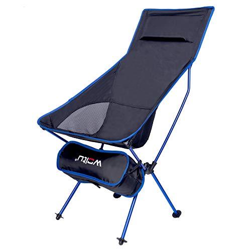WOLTU Campingstuhl Angelstuhl klappstuhl faltstuhl, mit Tragetasche und Kopfstütze, bis 140KG belastbar Blau + Schwarz CPS8133sz