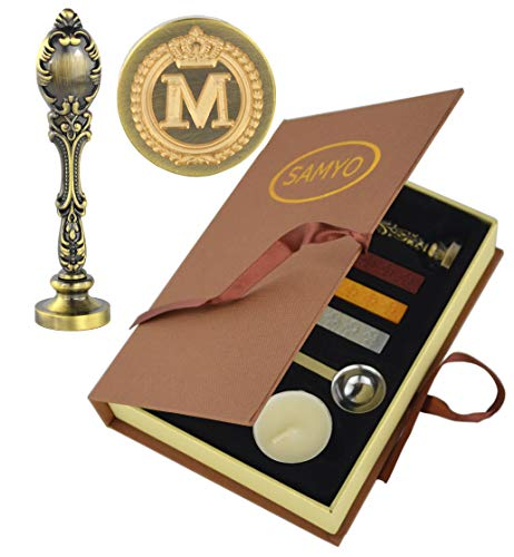 Samyo Creative Romantic Stamp Maker Classic Old-Fashioned Style Brass Color Wax Seal Sealing Stamp Vintage Antique Alphabet Initial Letter Set - (Letter M)