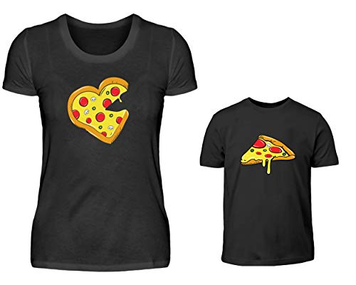 Mutter Tochter Sohn T-Shirt Partnerlook Set Pizza Und Pizzastück Mama Sohn Tochter Partneroutfit Partnershirts (Schwarz)