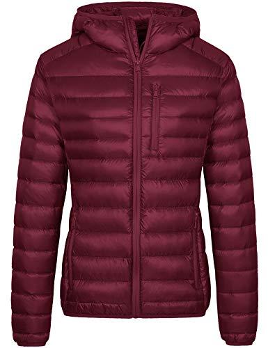Wantdo Women's Hooded Packable Ultra Lightweight Outerwear Jacket Wine Red M