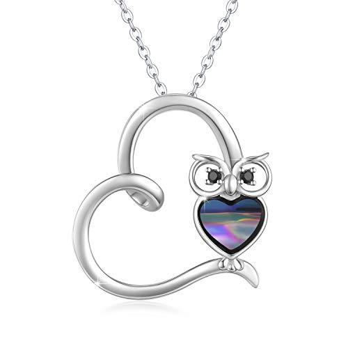 Eule Kette Silber 925 Abalone Kette Anhänger Eule Herz Halskette Tiere Anhänger Eulen Schmuck Geschenke für Damen Kinder Mädchen
