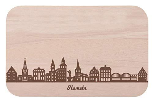 Frühstücksbrettchen Hameln mit Skyline Gravur - Brotzeitbrett und Geschenk für Hameln Stadtverliebte und Fans - perfekt auch als Souvenir