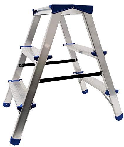Alu Doppelstufenleiter - Aluminium Leiter - Trittleiter Bockleiter Haushaltsleiter Klappleiter Klapptrittleiter - TÜV geprüft, EN 131 - bis 150 Kg (3 Stufen - 60 cm)
