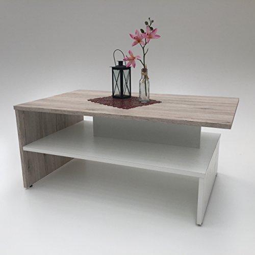 Möbel SD Couchtisch Wohnzimmertisch Kaffeetisch (SW) Sandeiche-weiß