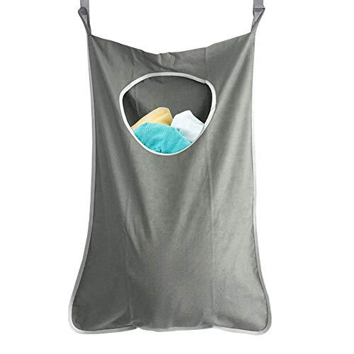 Gobesty Hängend Wäschekorb, hängende wäschesäcke Tür wäschesack wäschesammler mit 2 Türhaken + 2 Saughaken Organizer Tasche für Schlafzimmer Kinderzimmer & Bad, grau