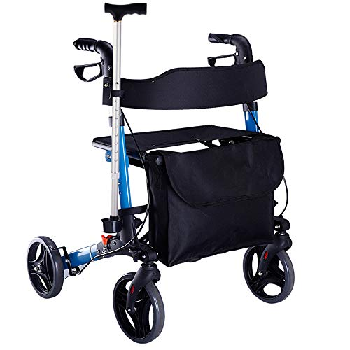JJJJD Andador de Aluminio para discapacitados Peatonal Plegable Caminador de Cuatro Ruedas Ruedas Azules Old Man Trolley