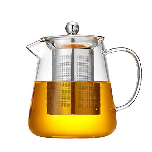ROEWP Teteras teapot Claro Tetera de Cristal con extraíble infusor Vidrio borosilicato de Las Hojas Intercambiables Caldera de té Colador microondas y quemadores de té Fuerte Menaje Pot con infusor
