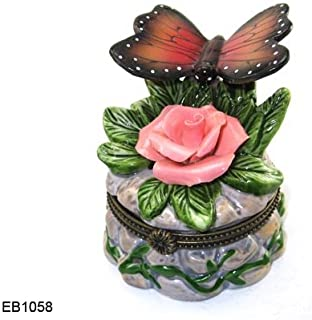 Art Gifts Butterfly Hinged Porcelain Trinket Box