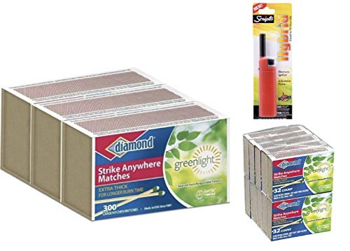 Strike Anywhere Matches Value Pack-3 Large Size Packs & 1 Small Size Pack of Diamond STRIKE ANYWHERE MATCHES with BONUS Scripto Lighter for Kitchen, Camping, Outdoor, Value Pack by Autumn Green Shop